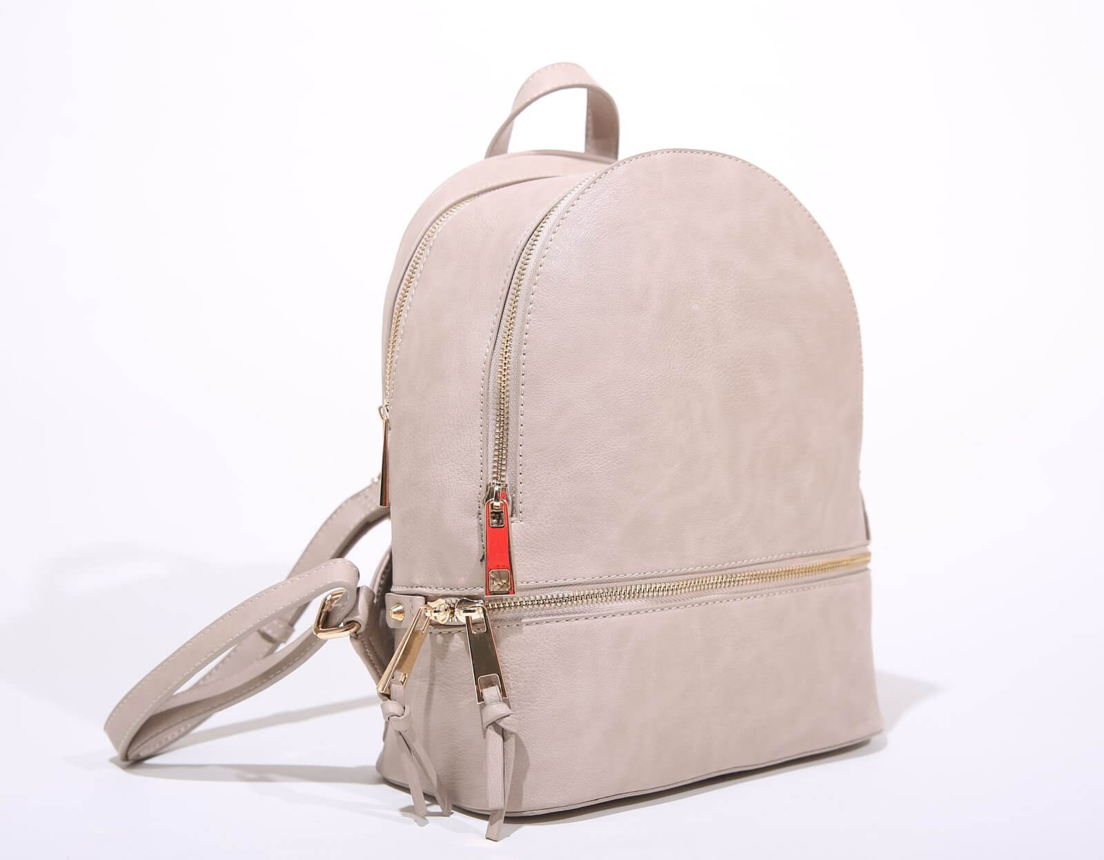 Beige pleather backpack