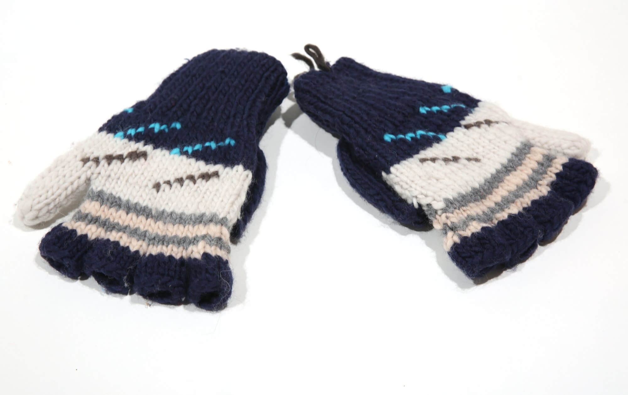 Blue and white wool gloves