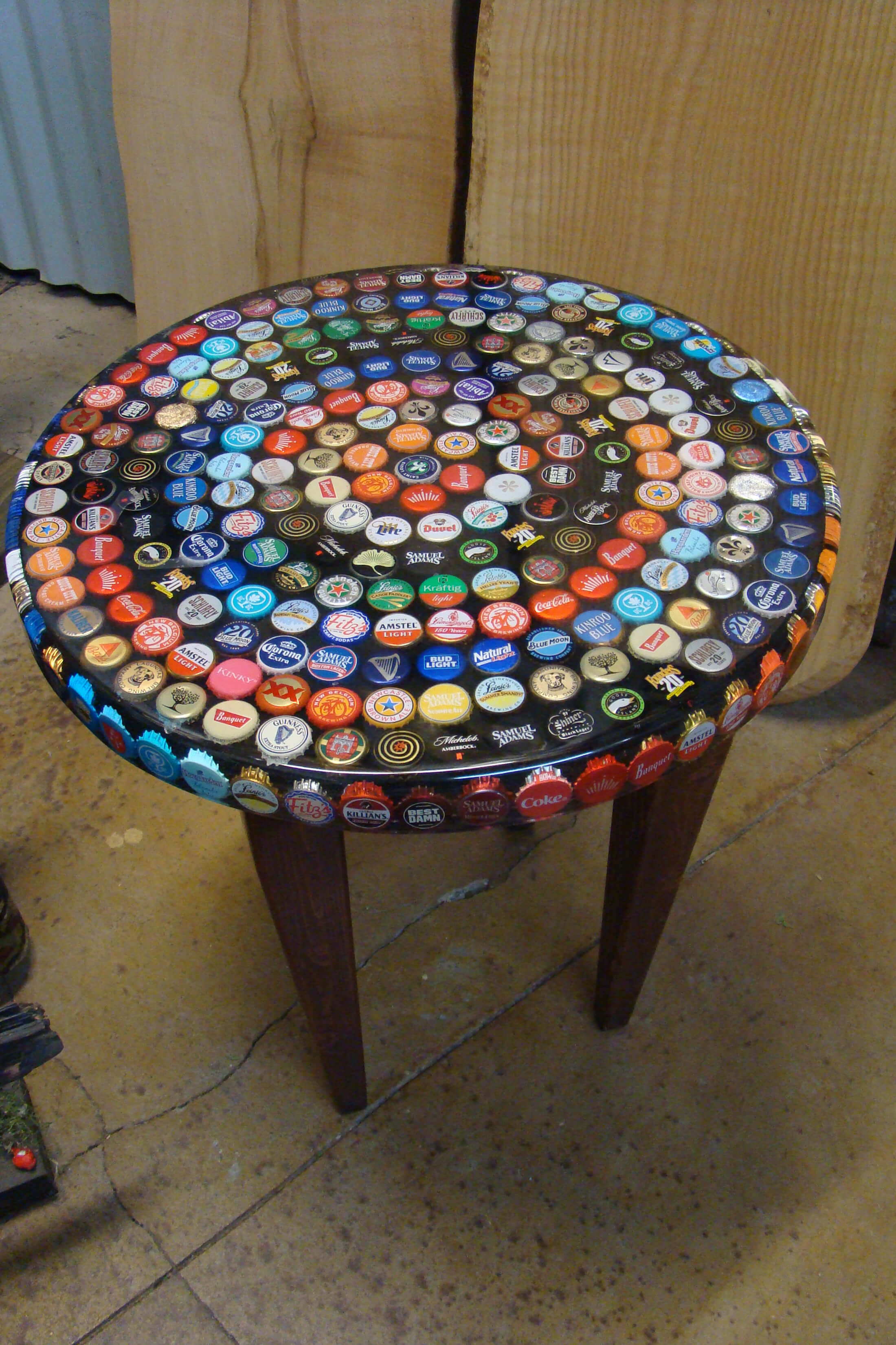 Bottle cap end table
