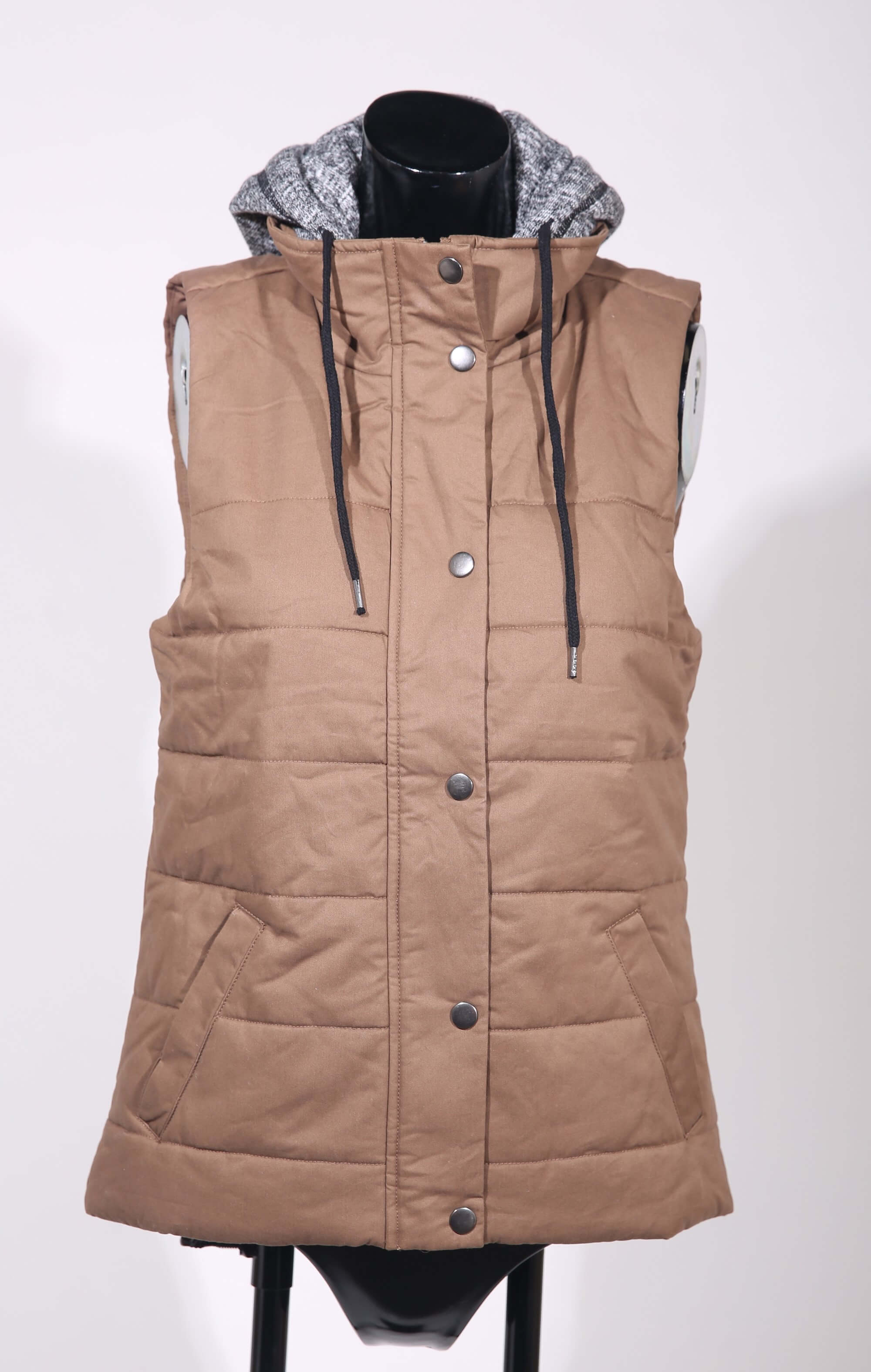 Puffy canvas hooded vest