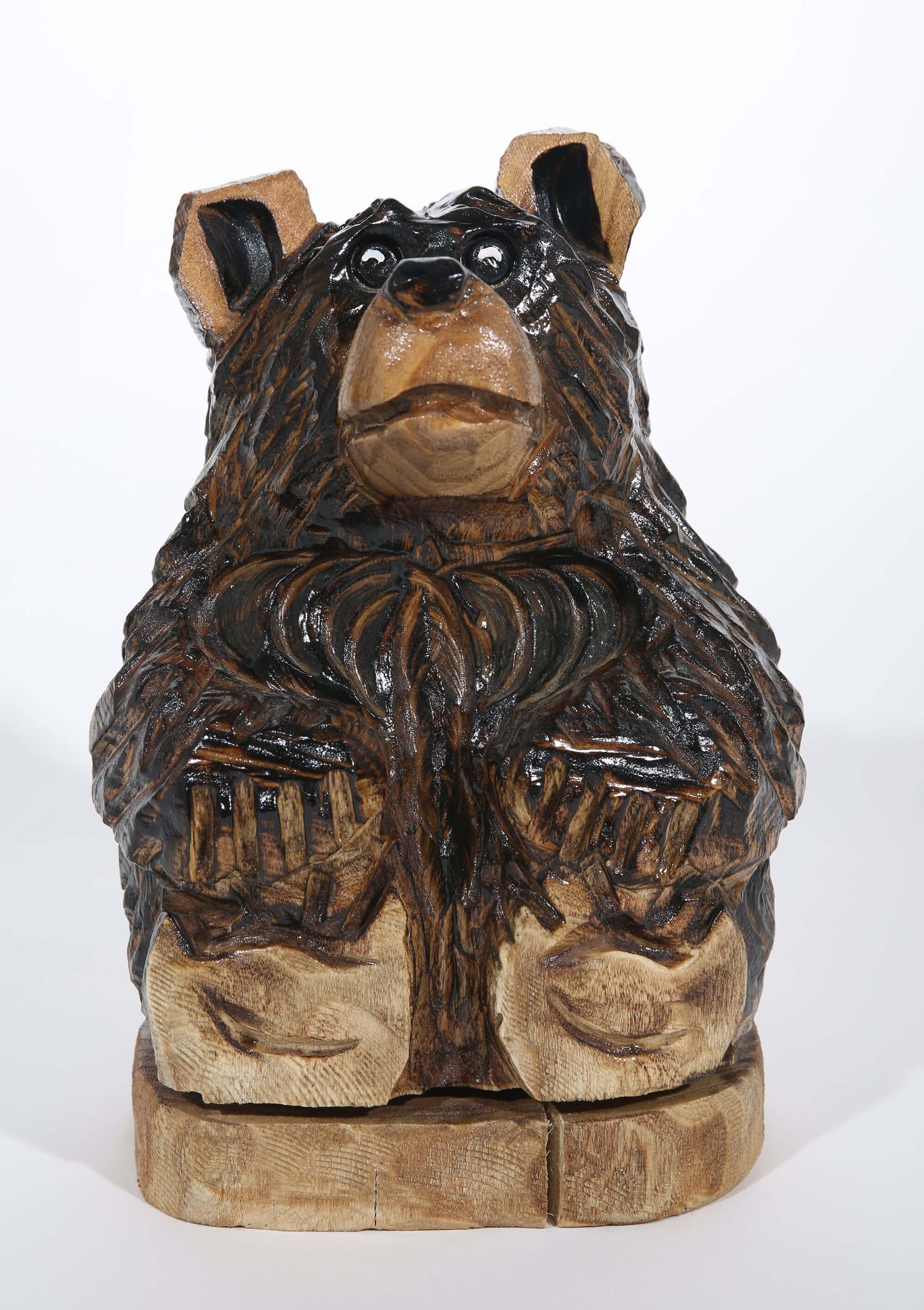 Carved bear statue