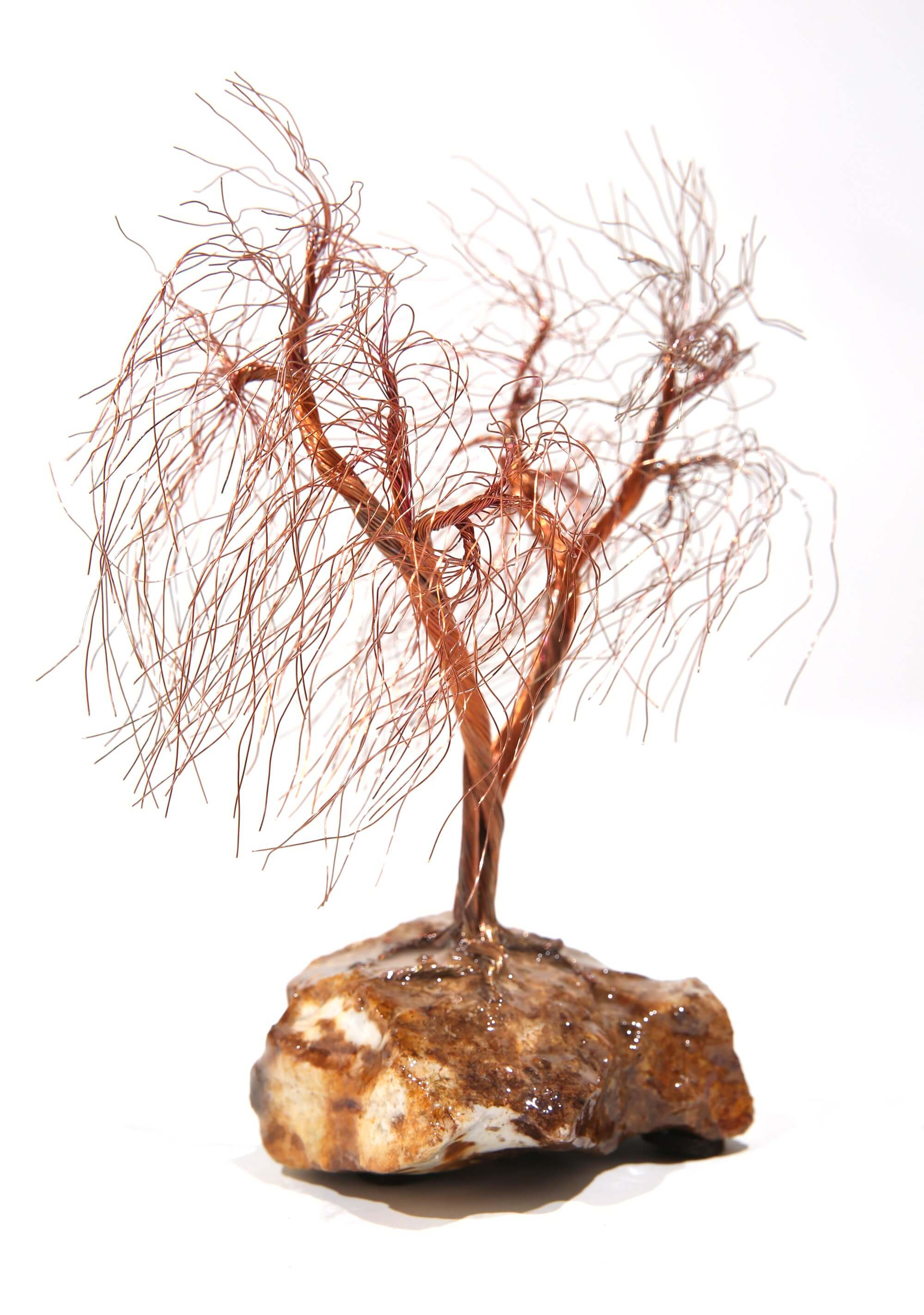 Copper wire tree sculpture