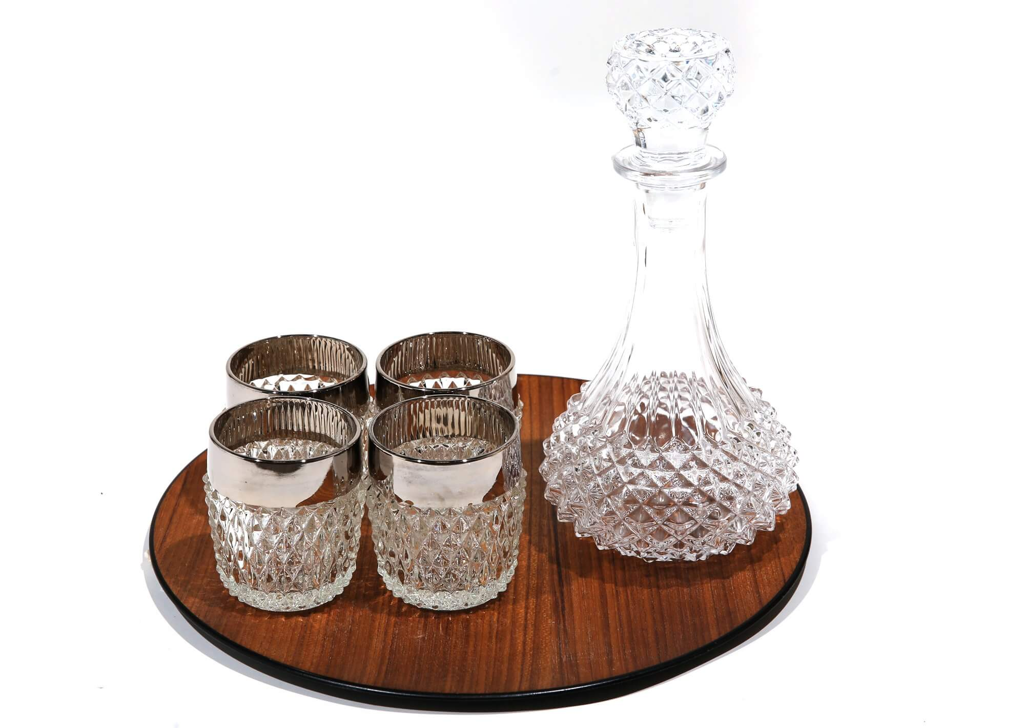 Hobnail glasses and decanter with teak tray