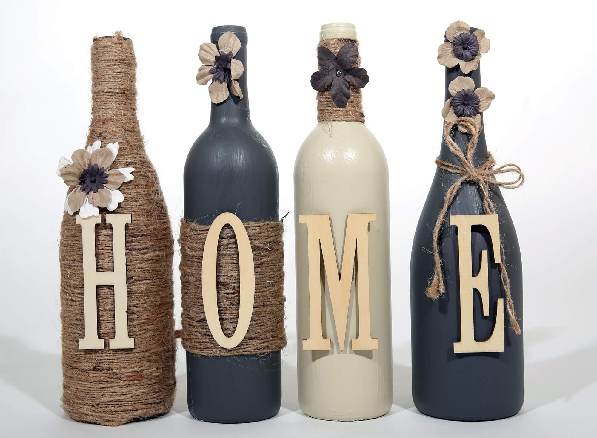 H-O-M-E bottles
