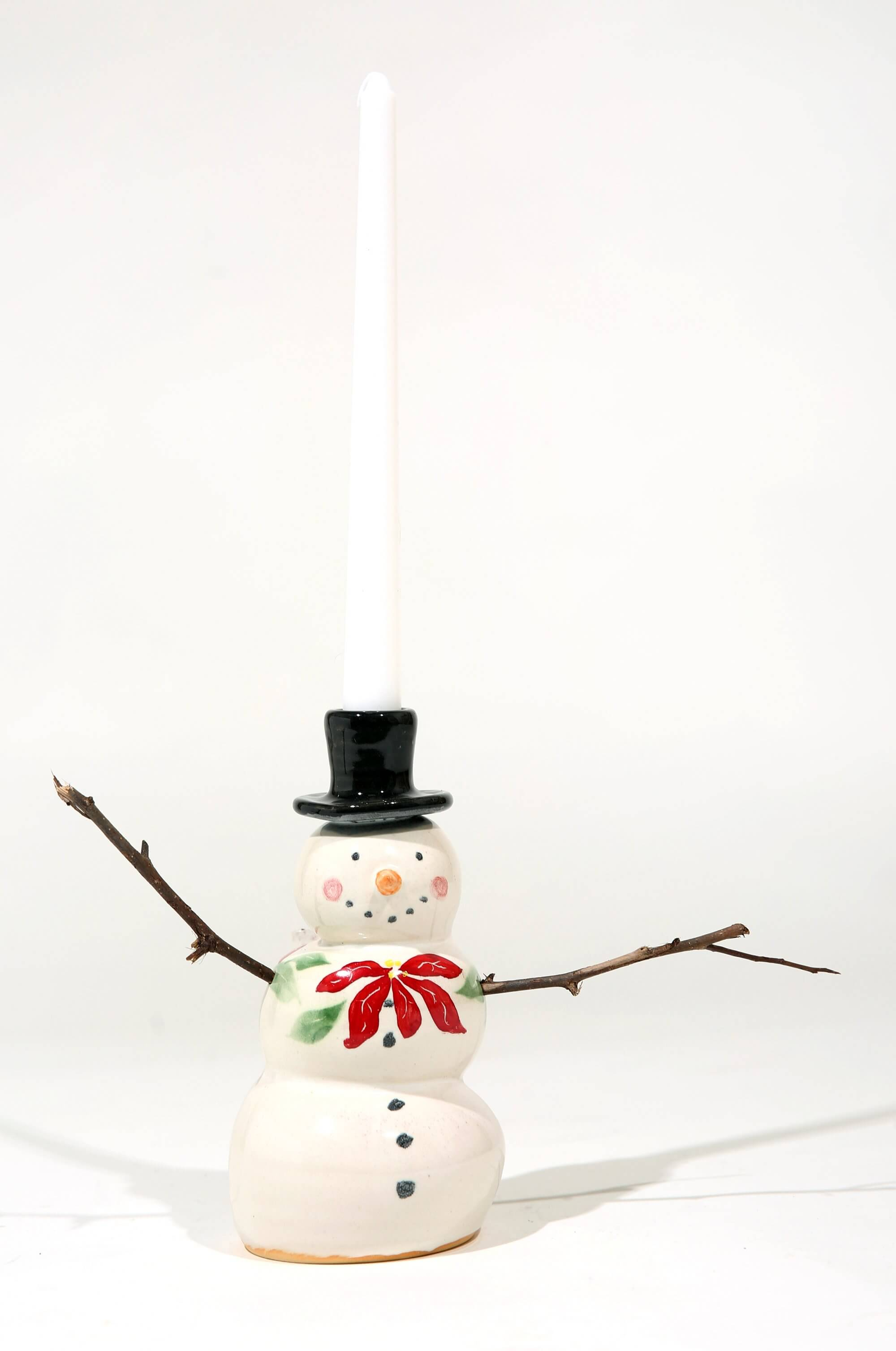 Snowman with candle pottery