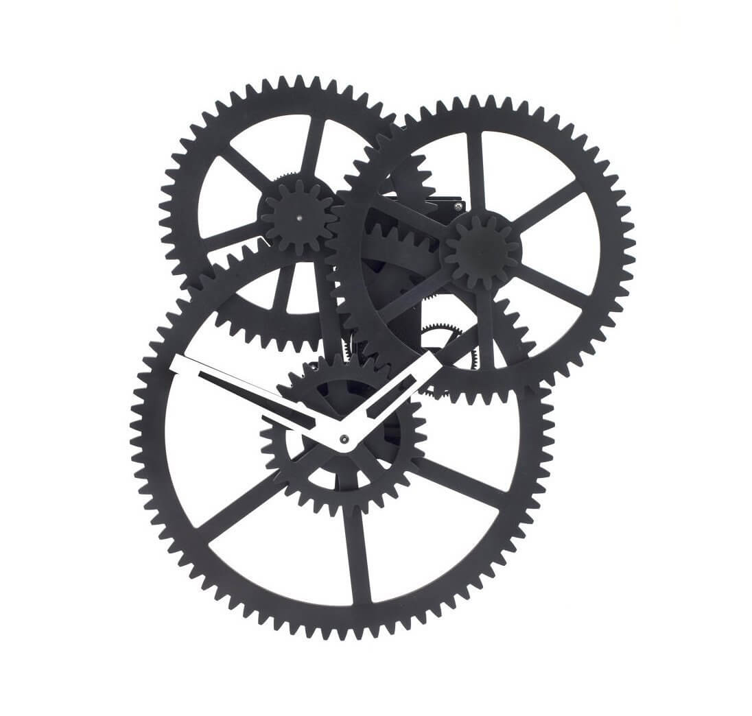 Triple gear wall clock